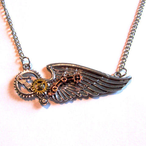 Stunning Steampunk Winged Cogs Multi-tone Necklace