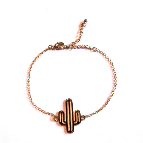 Cool Cactus Gold Tone Ditsy Chain Bracelet