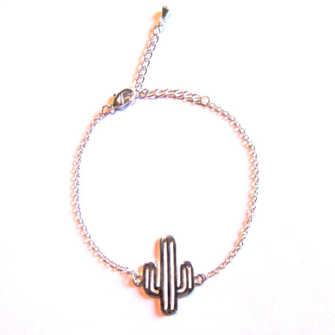 Cool Cactus Silver Tone Ditsy Chain Bracelet
