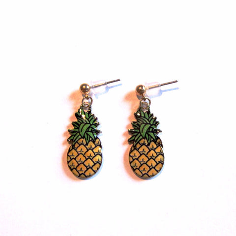 Perky Pineapple Golden Drop Earrings