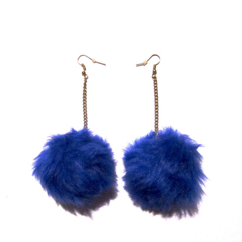 Beaut in Blue Fluffy Pom Pom Drop Earrings