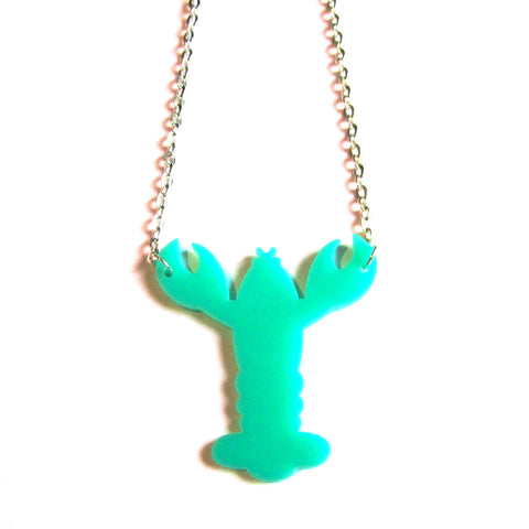 Quirky Colourful Mint Green Lobster Acrylic Necklace
