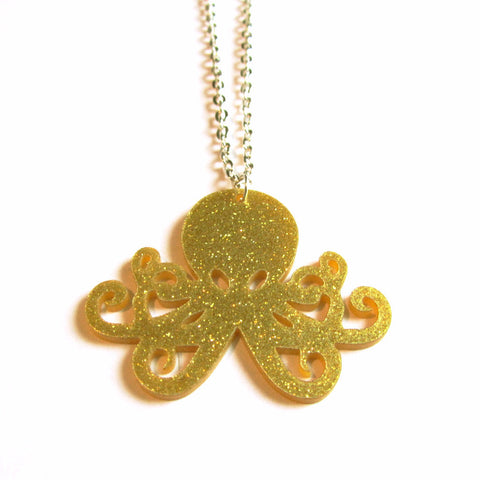 Sparkly Kitsch Gold Glitter Octopus Acrylic Necklace
