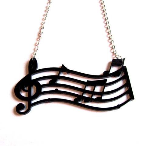 Statement Musical Notes Bar Acrylic Necklace
