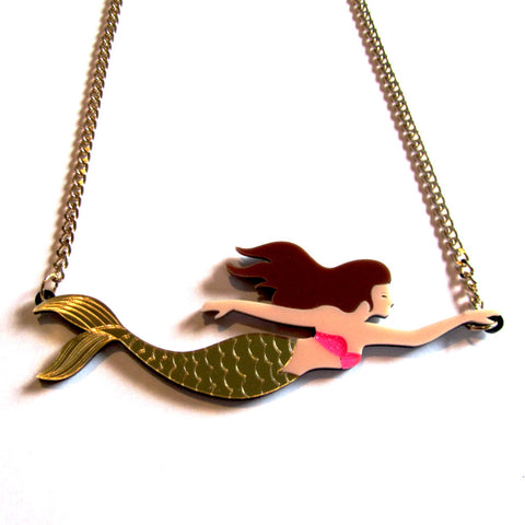 Stunning Statement Siren Colourful Acrylic Mermaid Necklace — Gold