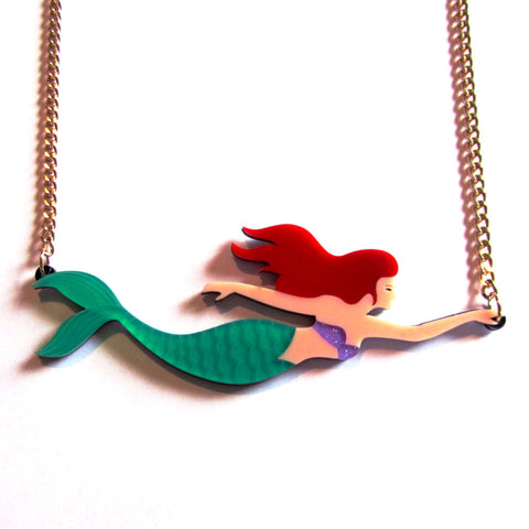 Stunning Statement Siren Colourful Acrylic Mermaid Necklace — Green