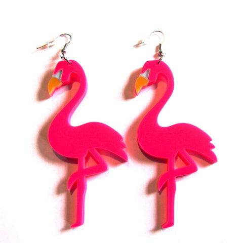 Statement Hot Pink Flamingo Drop Earrings