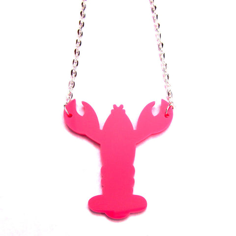 Quirky Colourful Pink Lobster Acrylic Laser Cut Necklace