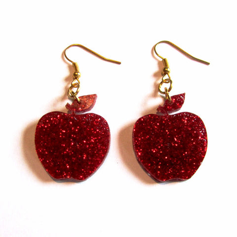 Glamorous Glitter Red Apple Acrylic Drop Earrings