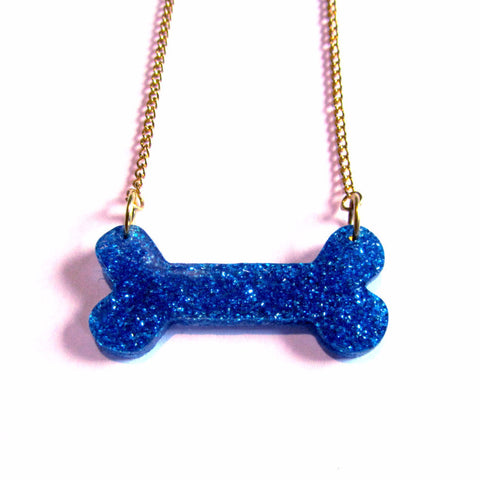 Glitzy Glitter Blue Bone Acrylic Pendant Necklace
