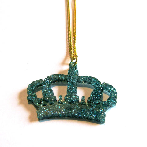 Gorgeous Green Glitter Crown Acrylic Pendant Necklace