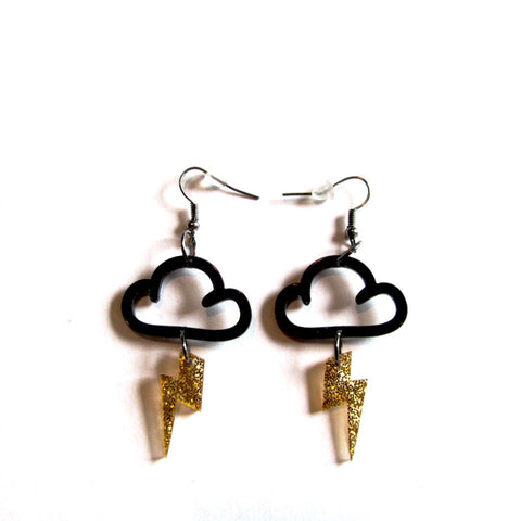 Striking Stormy Black Clouds Gold Lightning Acrylic Drop Earrings