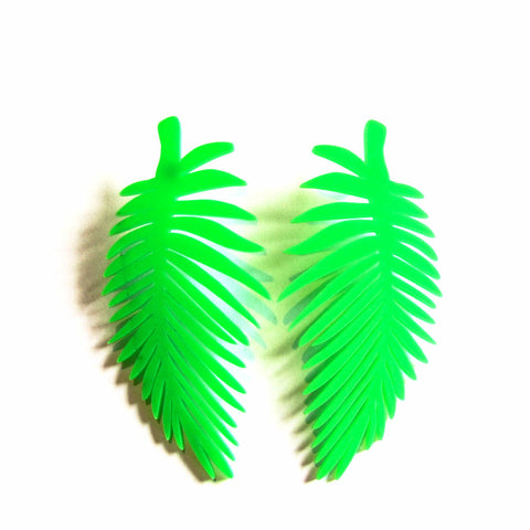 Statement Tropical Green Leaf Acrylic Stud Earrings