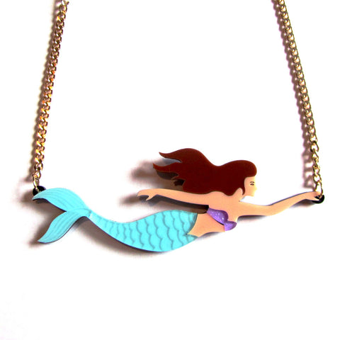 Stunning Statement Siren Colourful Acrylic Mermaid Necklace — Blue