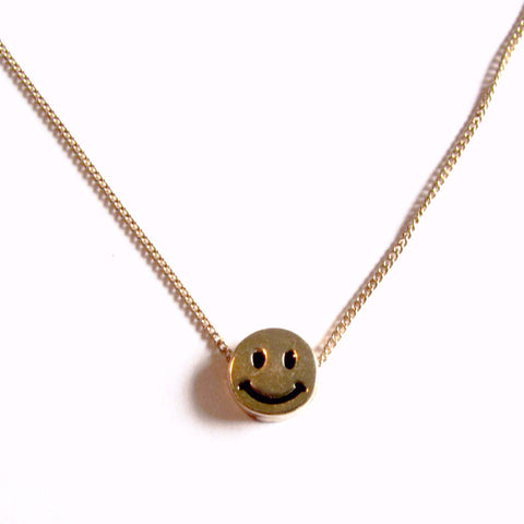 Cute Ditsy Smiley Face Emoji Gold Pendant Necklace