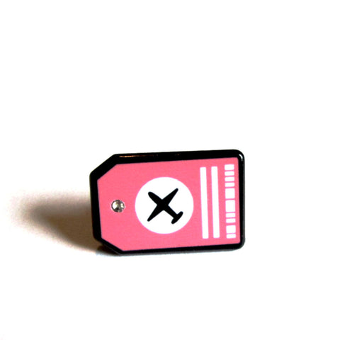 Cute Pink Black Travel Luggage Tag Enamel Pin Badge