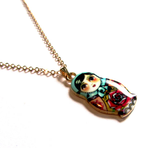 Cute Brunette Russian Doll Enamel Pendant Necklace