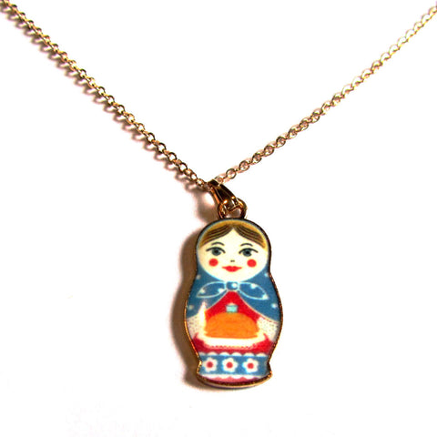 Cute Fair Russian Doll Enamel Pendant Necklace