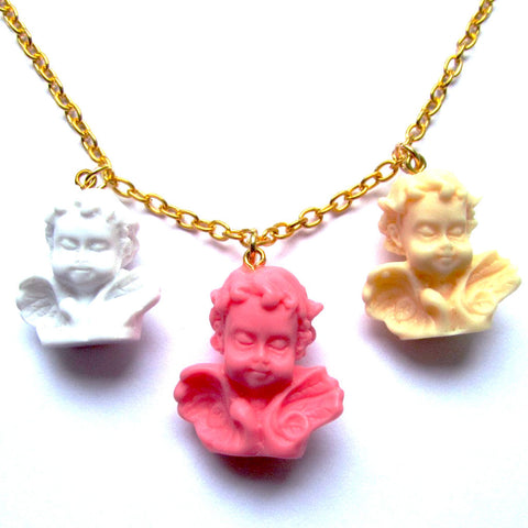 Fabulous Kitch Quirky Winged Classic Cherub Statue Resin Necklace – Multi