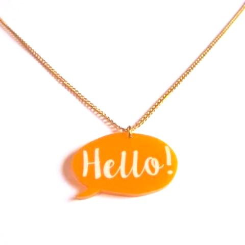 Fun Hello Speech Bubble Yellow Orange Acrylic Pendant Necklace