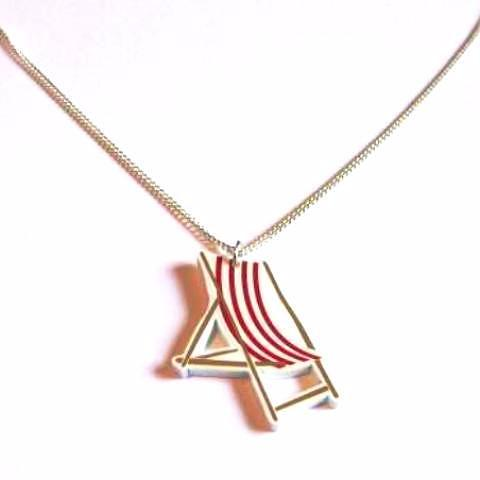 Retro Vintage Style Red Stripe Deck Chair Acrylic Pendant Necklace