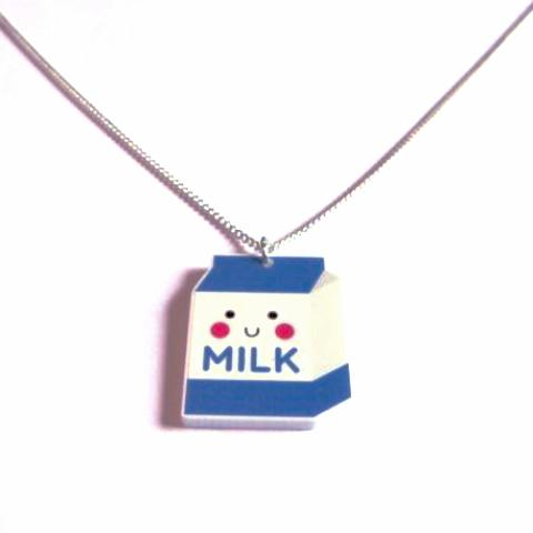 Cute Kawaii Milk Carton Acrylic Pendant Necklace