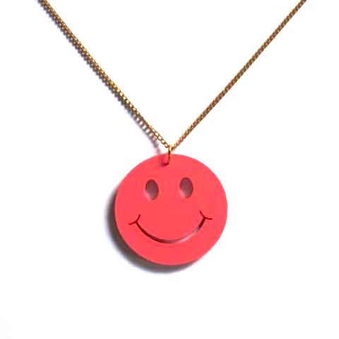 Kitsch 'N' Cute Pink Smiley Face Acrylic Pendant Necklace