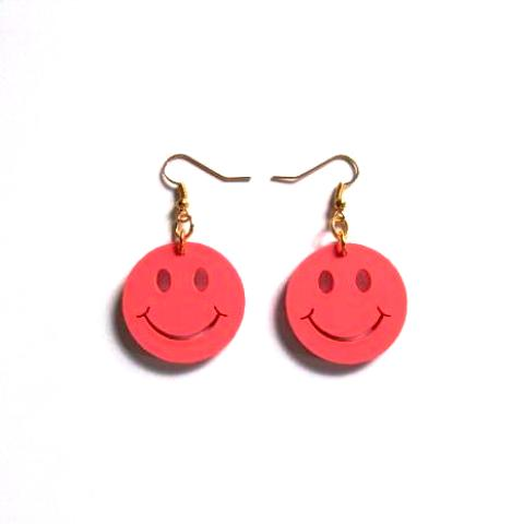 Kitsch 'N' Cute Pink Smiley Face Acrylic Drop Earrings