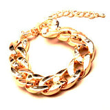 Chunky Chain Plastic Curb Bracelet - Gold