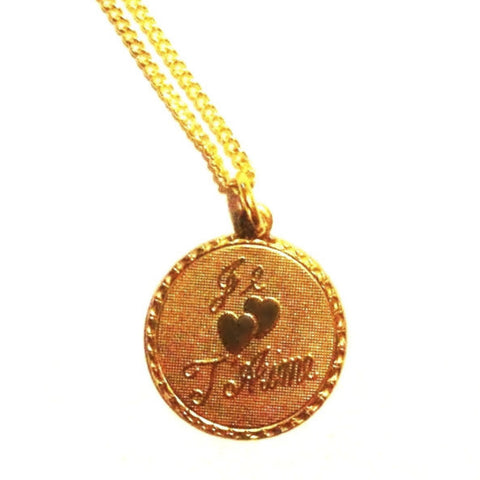 'Je T'aime' / I Love You Pretty Raw Brass Medal Pendant