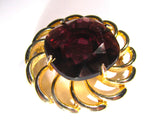 Vintage Large Gold Tone Gemstone Flower Brooch