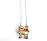 Cutesy Vintage Style Children Holding Hands With Love Wooden Necklace