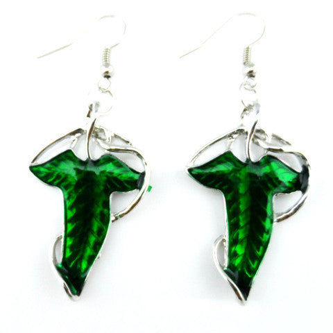 Lord of the Rings Hobbit Style Elven Leaf Drop Earrings