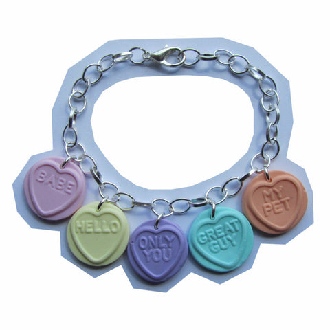 Sweet Faux Love Hearts Multicolour Clay Charm Bracelet