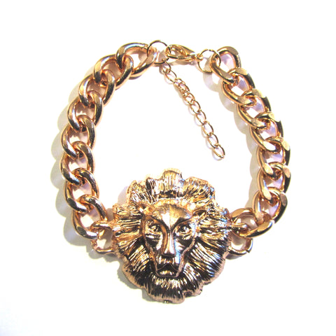 Iconic Gold Tone Celebrity Style Lion Head Bracelet