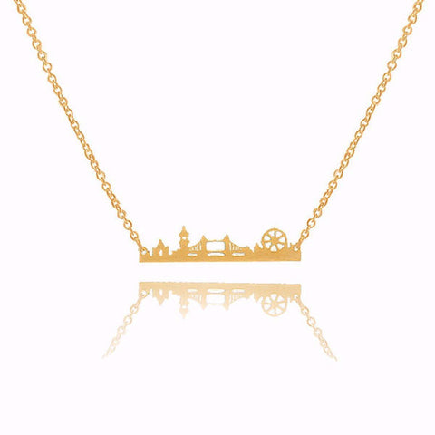 Dainty Golden London Skyline Stainless Steel Necklace