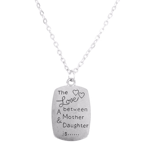 Love Between Mother & Daughter Word Pendant Necklace