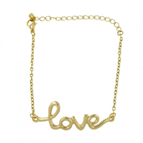Gold Tone Love Chain Bracelet