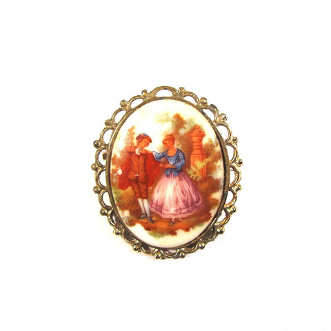 Vintage Effect Pretty Scene Large Brooch