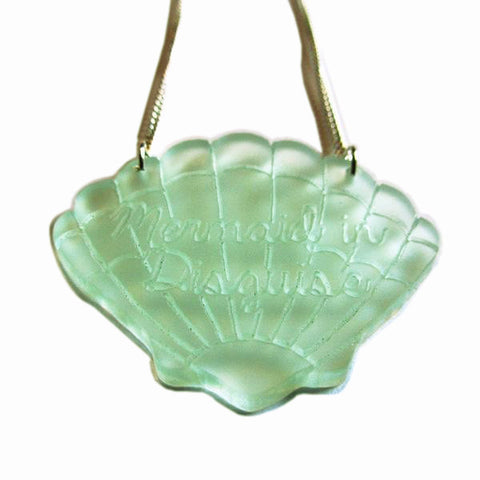 Gorgeous Clear Green Mermaid in Disguise Scallop Shell Acrylic Necklace