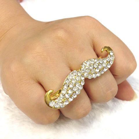 Gold Tone Diamante Moustache Double Finger Ring