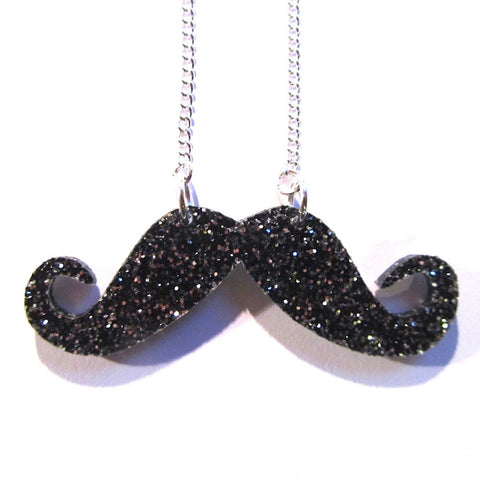 Funky Black and Silver Glitter Moustache Acrylic Necklace