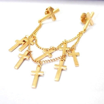 Multi Cross Gold Collar Brooch / Pin