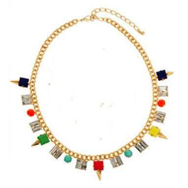 Stunning Multi-coloured Gems Chain Necklace