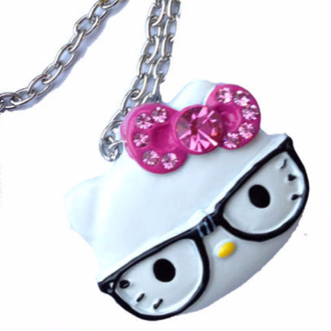 White Hello Kitty Face Stone Set Metal Pendant Necklace