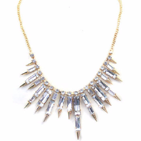 Statement Diamante Style Spike Drop Necklace