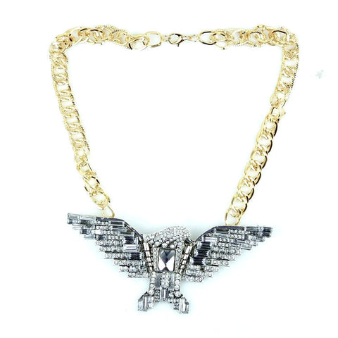 Statement Large Chunky Diamante Gem Studded Eagle Necklace