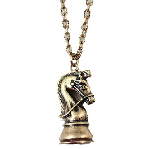 Knight Chess Piece Bronze Longline Pendant