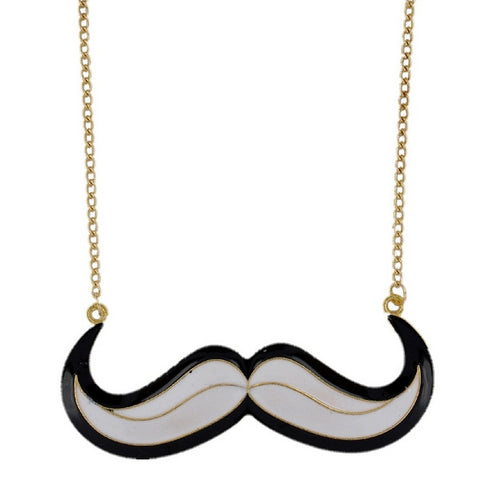 Large Monochrome Kitsch Moustache Pendant