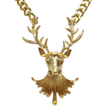 Gold Tone Deer Stag Head Chunky Chain Necklace